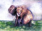 Elephant Art - Elephant Poised by Arline Wagner