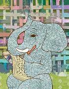 Tusk Mixed Media Prints - Elephant Reading Print by Lindsey Rounbehler