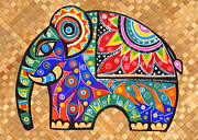 Traditional Tapestries - Textiles Framed Prints - Elephant  Framed Print by Samadhi Rajakarunanayake