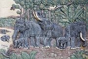 Elephant Sculpture Posters - Elephant sculptures Poster by Suphatthra China