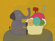 Ice Cream Illustration Posters - Elephant Sitting Beside Large Bowl Of Ice-cream Poster by Miyako Matsuda
