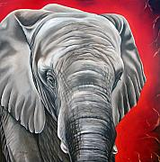 Elephant Painting Prints - Elephant six of eight Print by Ilse Kleyn