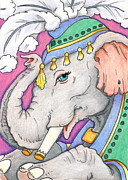 Carnival Drawings Posters - Elephant Smile Poster by Amy S Turner