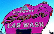 Car Wash Posters - Elephant Super Car Wash Boost Poster by Randall Weidner