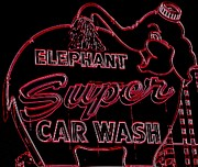 Car Wash Posters - Elephant Super Car Wash Neon Poster by Randall Weidner