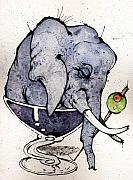 Cocktails Mixed Media Originals - Elephantini by Mark M  Mellon
