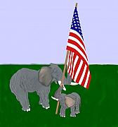 Patriotic Pastels Prints - Elephants and Flag Print by Pharris Art