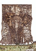 Elephant Pyrography Metal Prints - Elephants Metal Print by Clarence Butch Martin