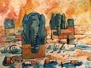 Awareness Originals - Elephants Floating ashore on Butt Island by Charlie Spear