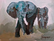 Signed . Nature Paintings - Elephants Gentle Giants by Patricia Awapara