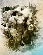 Tom Schmidt Acrylic Prints - Elephants Gone Wild Acrylic Print by Tom Schmidt