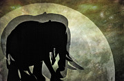 Tusks Acrylic Prints - Elephants on Moonlight Walk 2 Acrylic Print by Kaye Menner