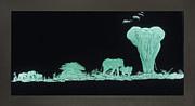 Engraved Art Glass Art - Elephants on Safari by Akoko Okeyo