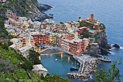 Hotels Posters - Elevated View of Vernazza at Dusk Poster by Jeremy Woodhouse