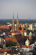 Polish Culture Prints - Elevated View Of Wroclaw With Church Spires Print by Guy Vanderelst
