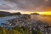 Norway Prints - Elevated View Over The Coastal City Of Alesund Print by Douglas Pearson
