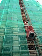 Netting Prints - Elevator at Building Construction Site Print by Yali Shi