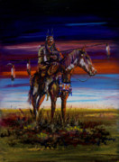 Indian Pastels Prints - Eleven Coup Warrior Print by Laurie Tietjen