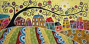 Folk Art Abstract Prints - Eleven Houses And A Swirl Tree Print by Karla Gerard