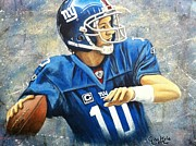 Football Paintings - Eli by Gina Kyle
