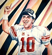 Quarterback Paintings - Eli Manning by Brian Degnon
