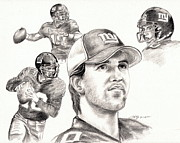 Graphite Portraits Drawings - Eli Manning by Kathleen Kelly Thompson