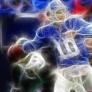 Super Bowl Digital Art Posters - Eli Manning NY Giants Poster by Paul Ward