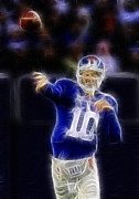Giants Posters - Eli Manning Poster by Paul Ward