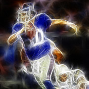 Nfl Digital Art Metal Prints - Eli Manning Quarterback Metal Print by Paul Ward