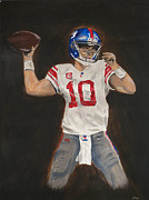Quarterback Paintings - Eli Manning by Steven Dopka