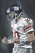 Quarterback Paintings - Eli Manning Super Bowl MVP by David Courson