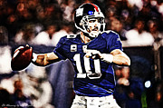 Nfl Mixed Media Framed Prints - Eli Manning Framed Print by The DigArtisT