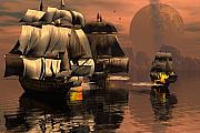 Ships Digital Art - Eliminating the pirates by Claude McCoy