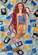 Modern Folk Art Paintings - Elinor by Rain Ririn