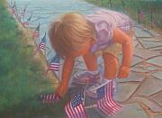 Memorial Day Pastels - Elisabeth and the Flags by Diane Caudle