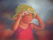 Hat Pastels - Elisabeth with her Beach Hat by Diane Caudle
