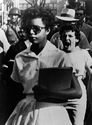 Books Framed Prints - Elizabeth Eckford, One Of The Nine Framed Print by Everett