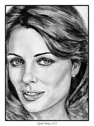 Makeup Drawings Posters - Elizabeth Hurley in 2008 Poster by J McCombie