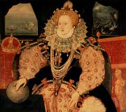 Elizabeth Framed Prints - Elizabeth I Armada portrait Framed Print by English School