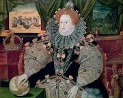 Collar Painting Prints - Elizabeth I Armada Portrait Print by George Gower