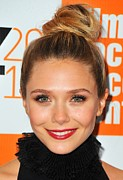Topknot Framed Prints - Elizabeth Olsen At Arrivals For Martha Framed Print by Everett