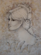 Young Girl Mixed Media Originals - Elizabeth by Paula Weber