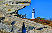 Maine Lighthouses Framed Prints - Elizabeth Rock  Framed Print by Emily Stauring