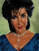 Icon Pastels Framed Prints - Elizabeth Taylor and La Paragrina Pearl Framed Print by Jeffrey J Steinberg
