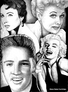 Elizabeth Taylor Drawings - Elizabeth Taylor Lucille Ball Elvis Presley and Marilyn Monroe by Celebrity Portrait Art by Steve Baker Sanfellipo