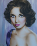 Elizabeth Taylor Paintings - Elizabeth Taylor no.2 by Steve Baier