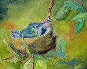 Green Oil Paintings - Elizabeths Hummingbird by Chris Brandley