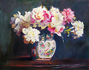 Impressionist Vase Floral Paintings - Elizabeths Peonies by David Lloyd Glover