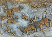 Trees Reliefs Posters - Elk and Bobcat in Winter Poster by Dawn Senior-Trask