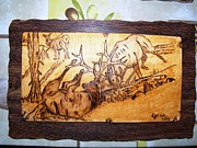 Cabin Wall Pyrography Prints - Elk Fightings-wood pyrography Print by Egri George-Christian